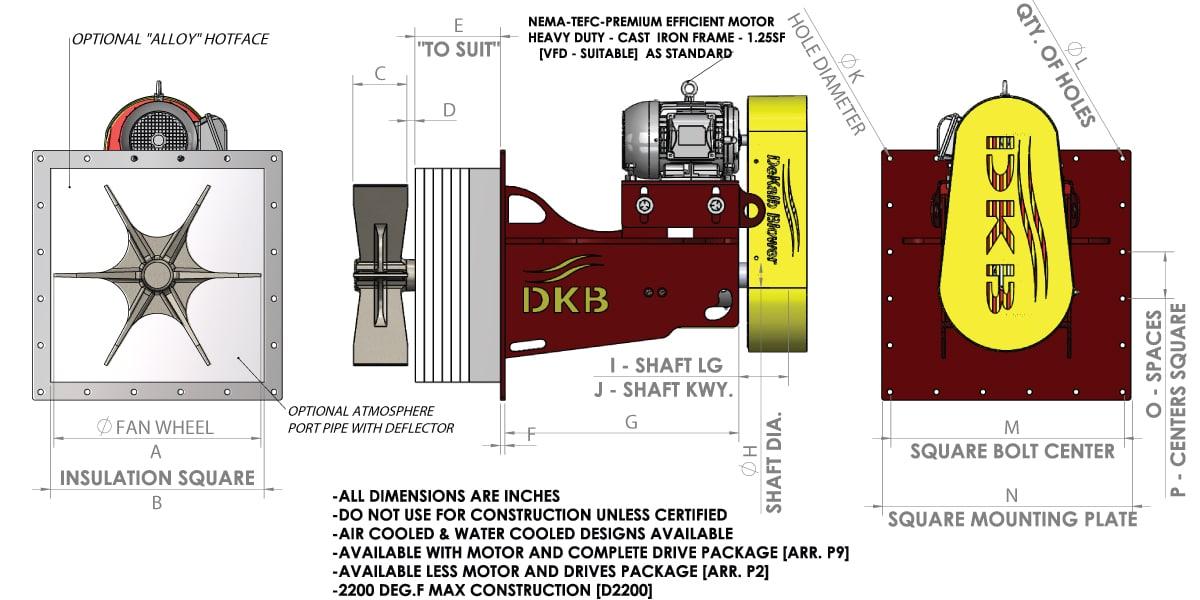 C Series - Square Flange Plug Fan Diagram